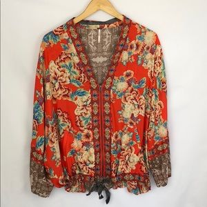 Free People Floral Zip Front Blouse